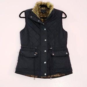 Adrienne Vattadini Black Faux Fur Quilted Vest S